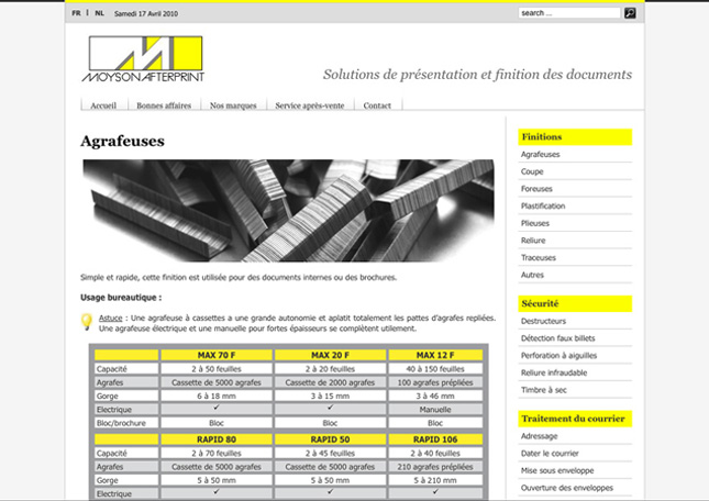 Site internet Moyson Afterprint, cms Wmaker + Html/Css (www.moyson-afterprint.be)